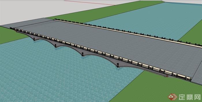园林景观详细的交通桥素材v交通su模型研隈设计理念吾图片