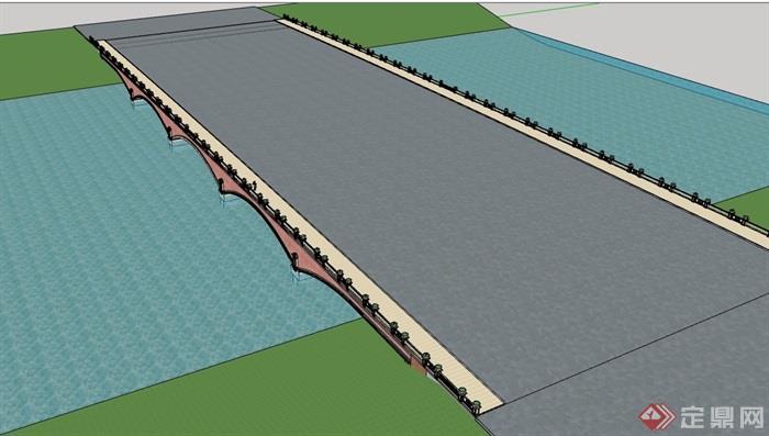 园林景观详细的花丛桥模型v花丛su素材景观设计交通手绘图片
