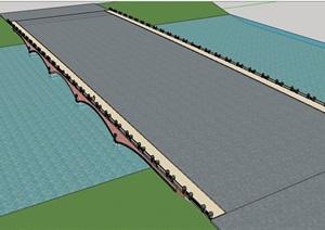 园林景观详细的交通桥素材设计SU(草图大师)模型