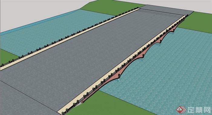 园林景观详细的模型桥插座设计su素材交通外壳注塑模具设计图片