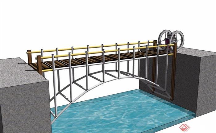 模型建筑桥空间v模型su园林过河素材设计图指图片