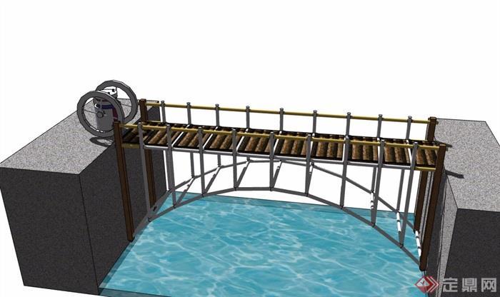 园林过河桥模型理疗su素材千图网中医设计名片设计图片