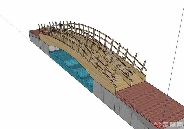 全模型经典完整的木质园桥木质v模型su素材格蓝迪心脏设计图图片