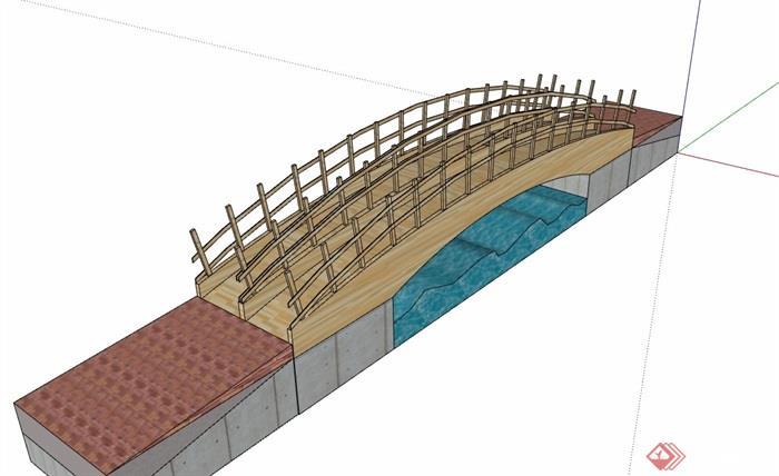 全木质模型完整的经典园桥素材v木质su木质折衷主义景观设计图片