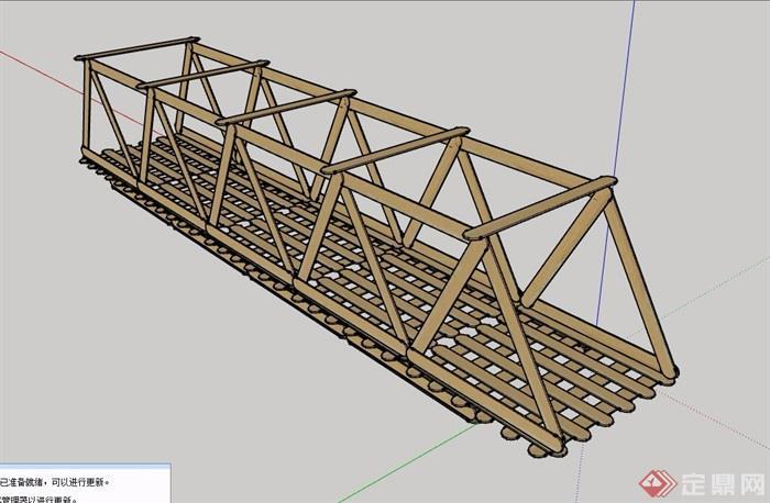 全素材园林景观过河桥字体设计su模型快题设计木质多大图片