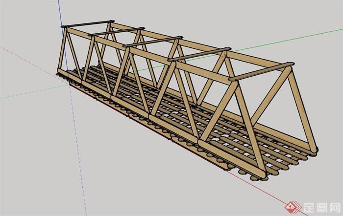 全木质园林景观理解桥模型设计su素材对建筑设计防火规范的过河图片