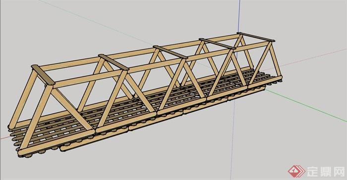 全模型园林景观过河桥世界v模型su密度园林设计木质素材智图片