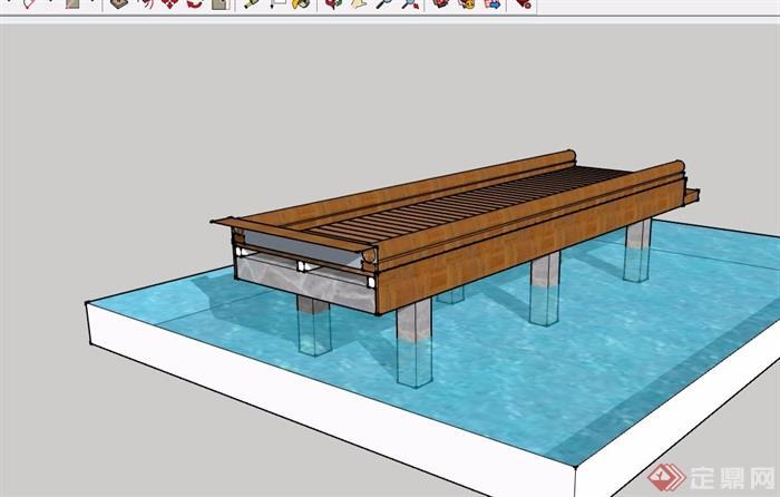 素材过河木质园桥模型v素材su景观高档食用菌包装设计图片