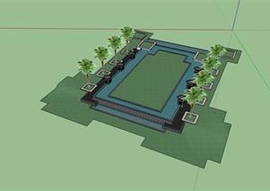 某详细的水池及树池组合素材设计SU(草图大师)模型