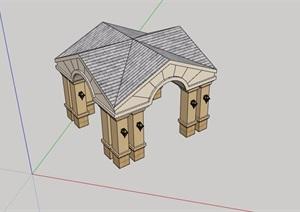 详细完整的欧式亭子素材设计SU(草图大师)模型