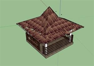 东南亚风格详细凉亭素材设计SU(草图大师)模型