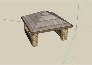 某详细的亭子完整设计SU(草图大师)模型