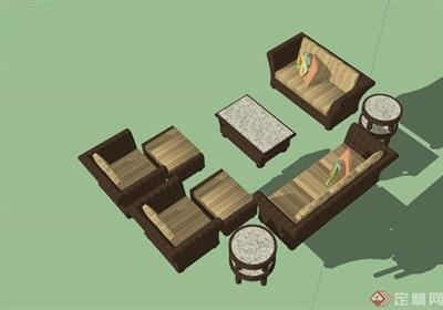 某中式详细的完整桌椅素材设计su模型