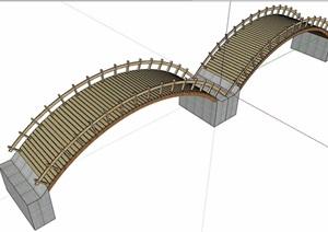 园林景观详细的完整园桥设计SU(草图大师)模型