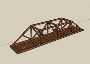 全木质详细的园桥素材设计SU(草图大师)模型