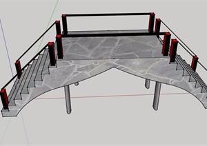 中式独特详细的园桥素材设计SU(草图大师)模型