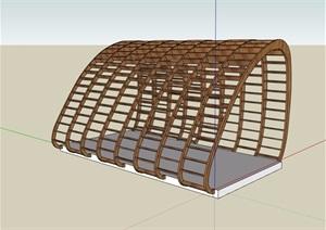 园林景观独特详细完整木质廊架素材SU(草图大师)模型