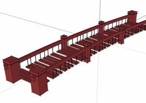 木质过河独特园桥素材设计SU(草图大师)模型