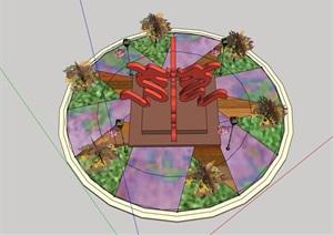 现代详细雕塑小品种植池设计SU(草图大师)模型