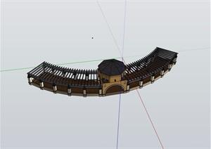 详细的完整亭廊素材设计SU(草图大师)模型