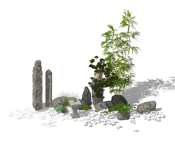 景观小品 庭院小品 鹅卵石 日式灯 拴马柱 石头su模型