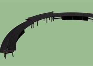 古典中式详细完整的长廊架素材设计SU(草图大师)模型
