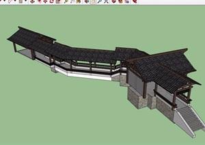 古典中式完整亭廊素材设计SU(草图大师)模型