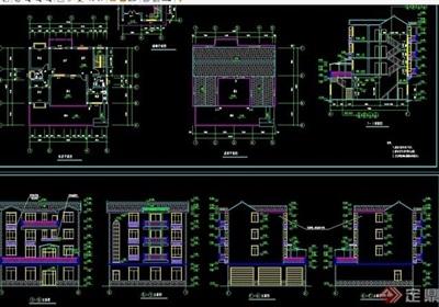 多层详细的欧式私人别墅设计cad方案图