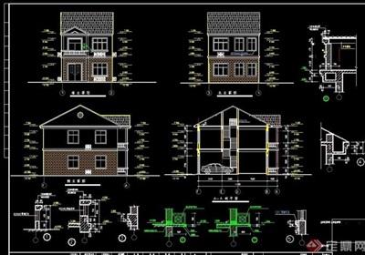 两层私家住宅设计建筑cad图