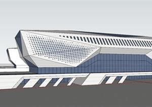 现代创意参数化表皮切削形几何形体大跨度高铁火车站
