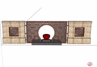 现代中式详细的园林景观景墙设计su模型