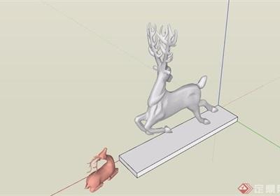 园林景观详细的小鹿雕塑素材设计su模型