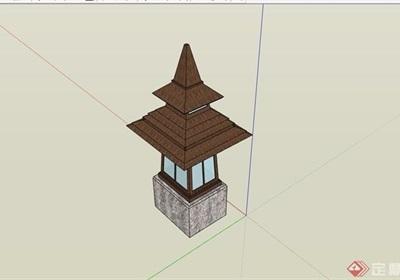 东南亚风格详细的灯饰设计su模型