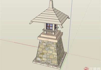 中式详细的灯塔素材设计su模型