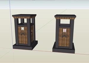 一对垃圾桶组合素材设计SU(草图大师)模型