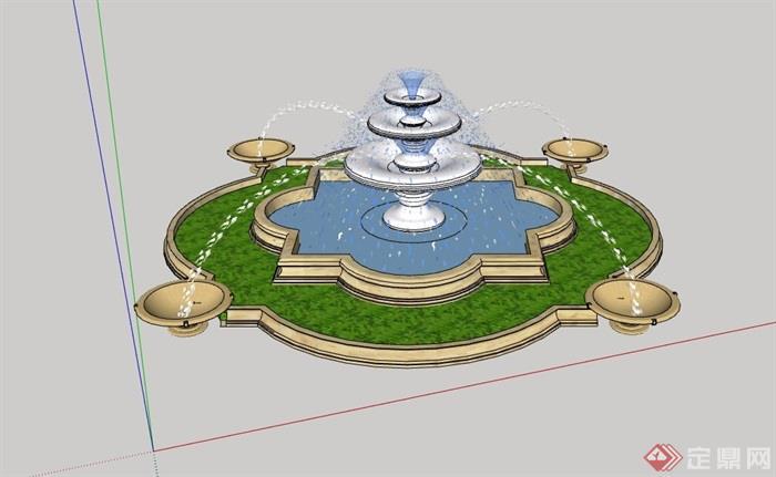 园林景欧式喷泉水钵水池设计su模型