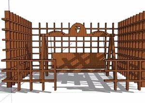 秋千椅及木栅栏SU(草图大师)模型