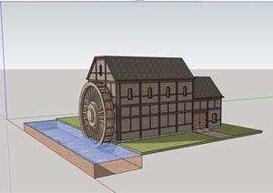 欧式风格多层仓库厂房建筑设计SU(草图大师)模型