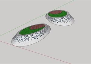 独特造型的种植花池素材设计SU(草图大师)模型