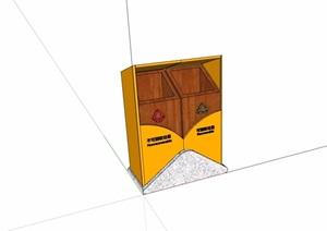 详细的整体垃圾桶素材设计SU(草图大师)模型