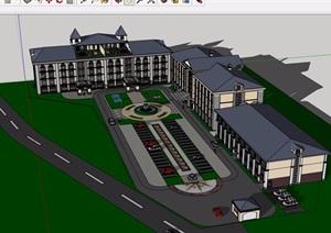 欧式酒店详细完整设计SU(草图大师)模型