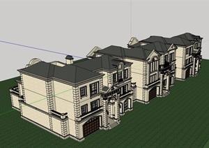 美式详细的经典住宅别墅设计SU(草图大师)模型