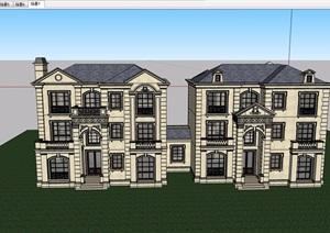 美式详细的多层经典别墅设计SU(草图大师)模型