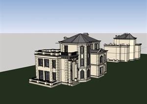 独栋详细的美式多层别墅设计SU(草图大师)模型