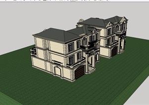 美式风格详细双拼住宅别墅设计SU(草图大师)模型