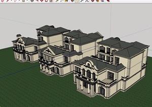 某详细的住宅小区别墅设计SU(草图大师)模型