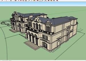 美式详细的经典住宅别墅建筑SU(草图大师)模型