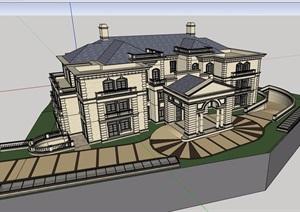 某私人详细的别墅多层建筑设计SU(草图大师)模型