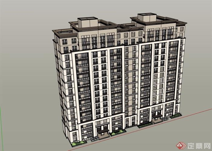 详细的居住小区完整高层建筑su模型