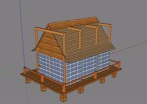 某详细的小屋建筑素材设计SU(草图大师)模型